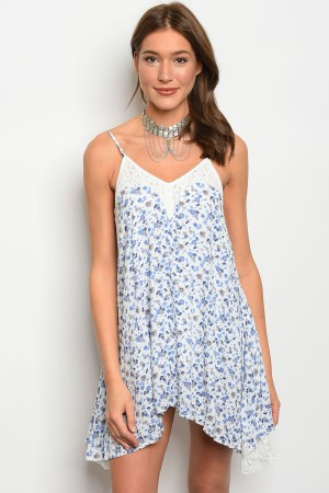 108-2-2-D10029 WHITE WITH BLUE FLOWER DRESS 3-2-1