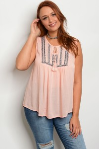 S11-7-2-TZB7603X PEACH NAVY PLUS SIZE TOP 2-2-2