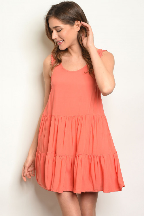 113-1-1-D12194 CORAL RUFFLE DRESS 2-2-2