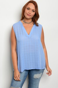 123-3-4-T7838X SKY BLUE PLUS SIZE TOP 2-2-2