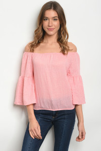 106-4-3-TRP8677 PINK OFF SHOULDER TOP 2-2-2
