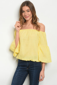 107-2-4-TRP8677 YELLOW OFF SHOULDER TOP 2-2-2