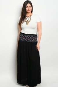 S12-3-3-S6071X BLACK PLUS SIZE SKIRT 2-2-2