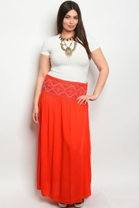 S12-2-1-S6071X RED PLUS SIZE SKIRT 2-2-2
