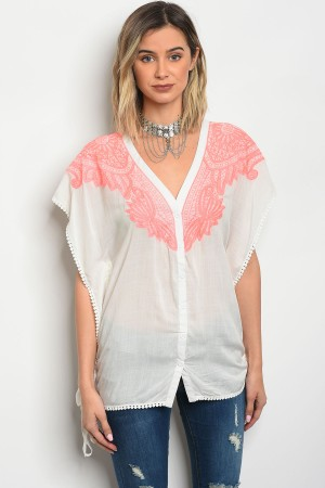 109-4-4-T22512 OFF WHITE NEON PINK TOP 3-2-1