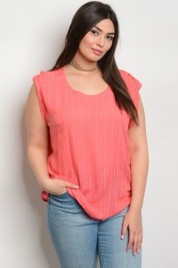 103-4-4-T7839X CORAL PLUS SIZE TOP 2-2-2