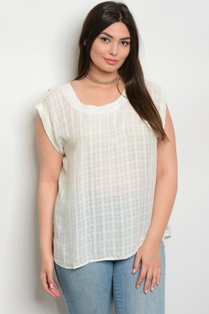 S15-3-3-T7839X IVORY PLUS SIZE TOP 2-2-2