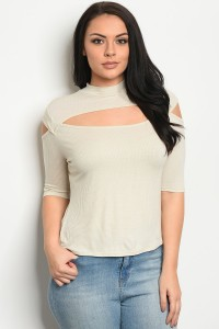C60-B-2-T1037 BEIGE PLUS SIZE TOP 2-2-2