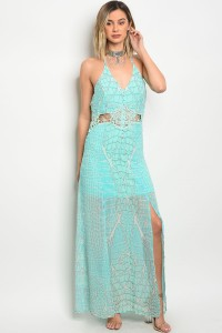 117-2-2-D1016 MINT BLUE CROCHET DRESS 2-1-3