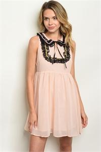 105-1-2-D8447 BLUSH BLACK LACE DRESS 3-2-1
