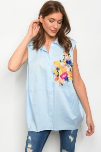 C69-A-4-T1730 LIGHT BLUE FLORAL EMBROIDERY TOP 2-2-2