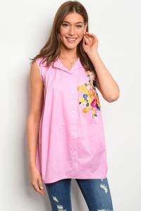 C63-A-5-T1730 PINK FLORAL EMBROIDERY TOP 2-2-2