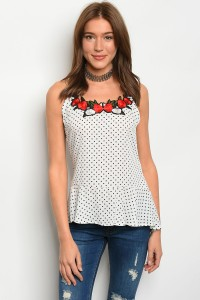 C38-A-1-T2718 WHITE BLACK POLKA DOTS ROSE PATCH TANK TOP 2-1-2