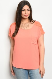 S11-5-1-TZB7689X CORAL PLUS SIZE TOP 2-2-2