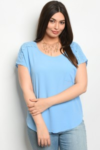 S11-5-1-TZB7689X SKY BLUE PLUS SIZE TOP 2-2-2