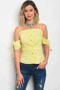 S9-2-2-T6456 LIGHT YELLOW POPLIN TOP 2-2-2