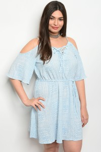 S12-12-2-D1494X SKY BLUE WHITE PLUS SIZE DRESS 2-2-2