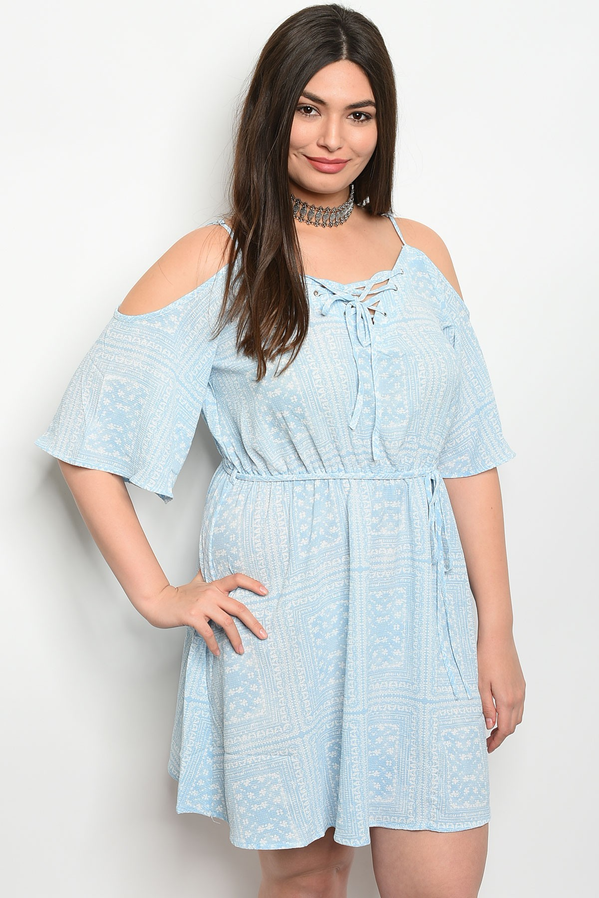 12-2-D1494X SKY BLUE WHITE PLUS SIZE DRESS 2-2-2