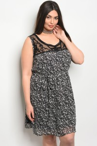 118-1-1-DCD2935 BLACK FLORAL PLUS SIZE DRESS 2-2-2