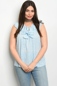 109-4-4-T1469X BLUE WHITE PLUS SIZE TOP 2-2-2