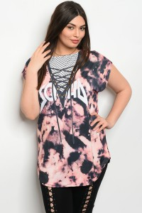 C42-A-2-T19300X BLACK RUST TYE DYE PLUS SIZE TOP 2-2-2