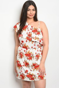 136-2-5-D3550X IVORY FLORAL PLUS SIZE DRESS 1-2-1