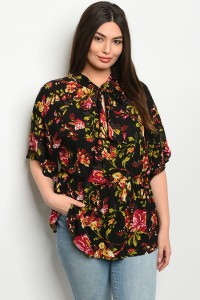 S9-1-3-TP9149X BLACK FLORAL PLUS SIZE TOP 2-2-1