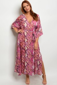 104-6-4-D182812X MAGENTA MULTI PLUS SIZE DRESS 2-2-2