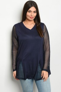 S9-11-1-T229X NAVY PLUS SIZE TOP 2-2-2