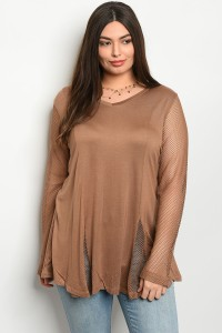 S9-6-2-T229X BROWN PLUS SIZE TOP 2-2-2