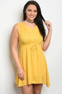 S10-11-2-D2240X MUSTARD PLUS SIZE DRESS 2-2-2