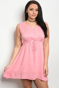 136-3-1-D2240X PINK PLUS SIZE DRESS 1-3-3
