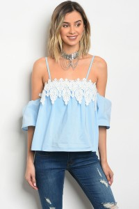 122-2-3-T20877 LIGHT BLUE POPLIN TOP 2-2-2