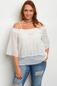 113-2-3-T3672X OFF WHITE PLUS SIZE TOP 2-2-2