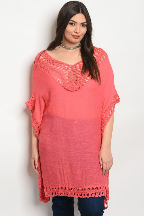 111-5-1-T3936X CORAL PLUS SIZE TOP 2-2-2