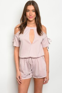 S12-4-1-R71174 LIGHT MAUVE LACE-UP COLD SHOULDER ROMPER 3-2-1