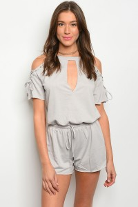 S10-12-2-R71174 GRAY LACE-UP COLD SHOULDER ROMPER 3-2-1