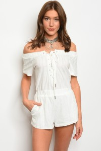 115-2-5-R71189 OFF WHITE LACE-UP OFF SHOULDER ROMPER 3-2-1