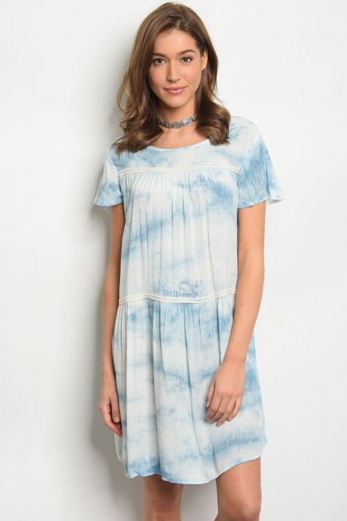 108-5-1-D5145 BLUE IVORY TIE DYE DRESS 2-2-2