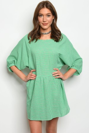 129-2-3-D10139 GREEN WHITE GINGHAM DRESS 2-2-2