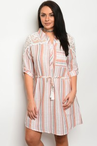 S12-2-2-D50024X OFF WHITE PEACH PLUS SIZE DRESS 3-2-1