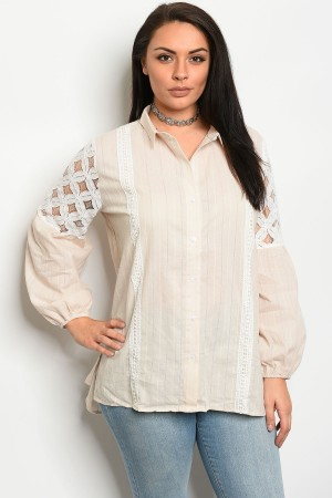 109-5-2-T70248X LIGHT TAUPE PLUS SIZE TOP 3-2-1