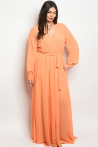 112-6-3-D14960X APRICOT PLUS SIZE DRESS 2-2-2