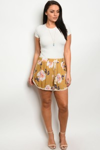 C23-B-1-S12342F1X MUSTARD FLORAL PLUS SIZE SHORTS 1-2-2
