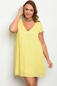 103-4-2-D3962X YELLOW PLUS SIZE DRESS 1-1-2