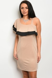 C10-A-2-D12214X TAUPE BLACK PLUS SIZE DRESS 2-2-2