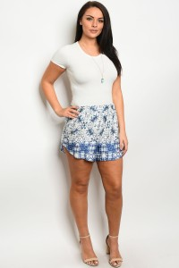 C4-B-1-S12342X IVORY BLUE PLUS SIZE SHORTS 1-1-1