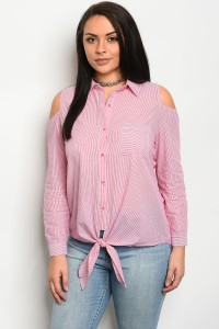 239-1-5-T51299X RED WHITE STRIPED POPLIN PLUS SIZE TOP 2-2-2