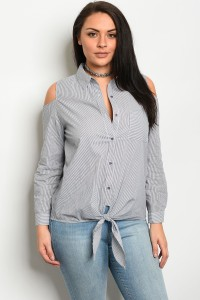 239-1-5-T51299X BLACK WHITE STRIPED POPLIN PLUS SIZE TOP 2-2-2