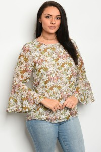 S10-7-2-T25385X OLIVE FLORAL PLUS SIZE TOP 2-2-2